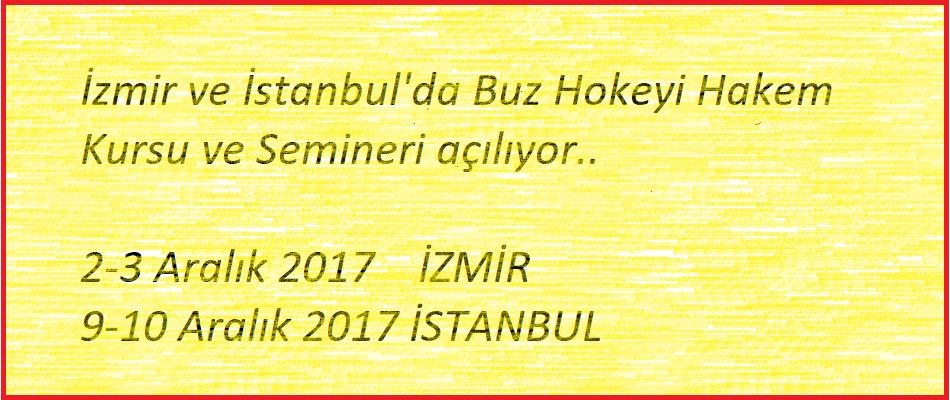 İzmir ve İstanbul'da Buz Hokeyi Hakem Kursu açılıyor..